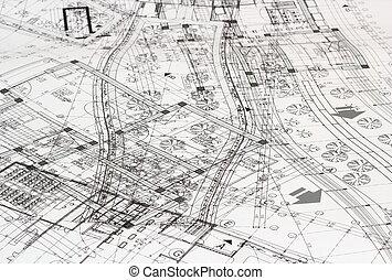 desordenado, plan, arquitectónico