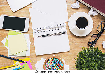 desordenado, tabla, oficina