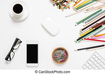 desordenado, teléfono celular, oficina vacía, escritorio