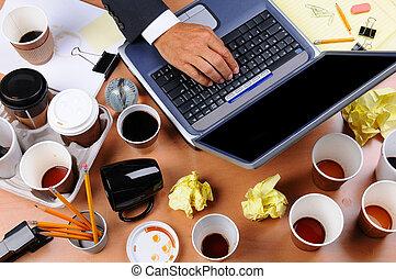 desordenar, hombre de negocios, escritorio