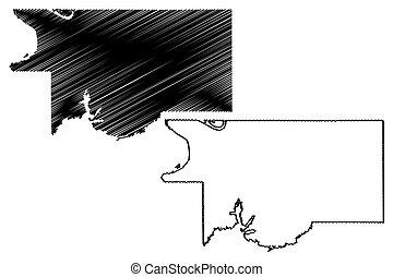 DeSoto County, Mississippi (U.S. county, United States of America, USA, U.S., US) map vector illustration, scribble sketch DeSoto map