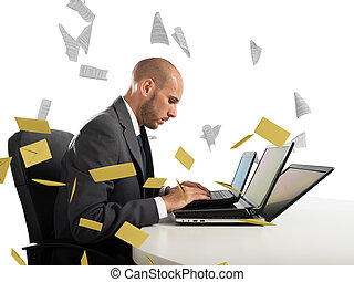 Desperate man in office for too many e-mail and spam