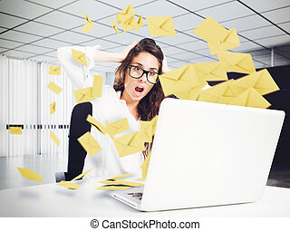 Despair and stress for spam e-mail - Desperate woman in ...
