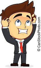 Clipart Picture of a Despair Male Businessman Cartoon Character Holding Head