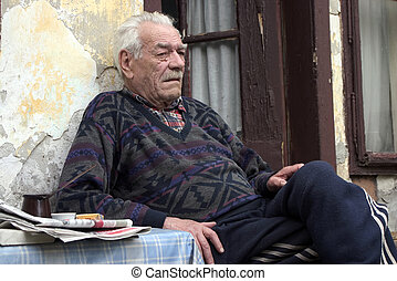 despair look of old man