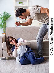 Desparate wife with aggressive husband in domestic violence conc