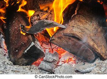 despeça madeira, registro, queimadura, stove.
