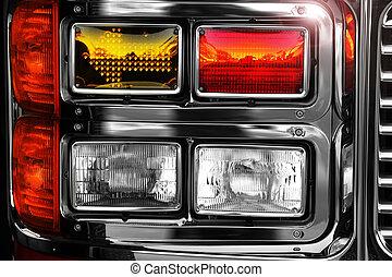 despeça motor, brilhante, luzes
