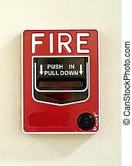 despeça parede, alarme, vermelho