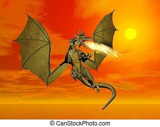 despeça respirar, dragão, -, 3d, render