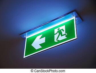 despeça saída, saída emergência, sinal.