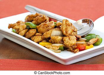 despedido, nozes cajueiro, alimento, tailandês, galinha