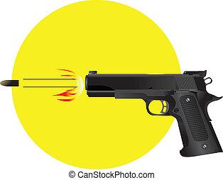 despedir, arma, bala