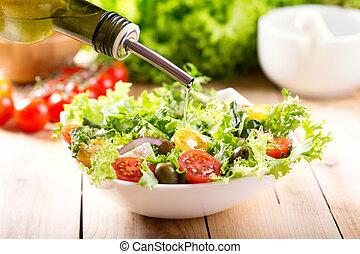 despejar, óleo, tigela salada, azeitona, fresco