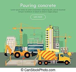 despejar, apartamento, concreto, vetorial, teia, conceitual, bandeira