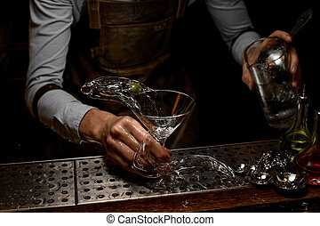 despejar, bartender, martini, coquetel, jarro