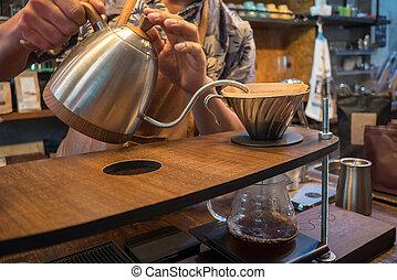 despejar, coffee., gotejamento, mão, água, bule, prata, barista