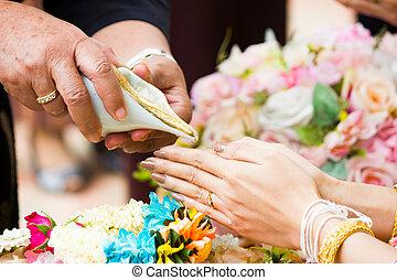 despejar, concha, cultura, conch, anciões, água, noiva, casório, abençoar, tailandês, cerimônia, ceremony.