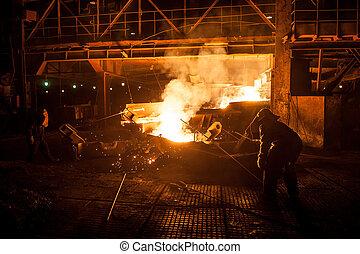 despejar, líquido, quando, titânio, steelworkers, arco, slag...