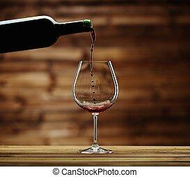 despejar, madeira, contra, vidro, fundo, vinho tinto
