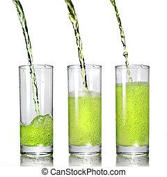despejar, vidro, isolado, suco, verde branco