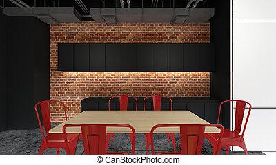despensa, área, 3d, render, projeto interior, escarneça, cima, ilustração