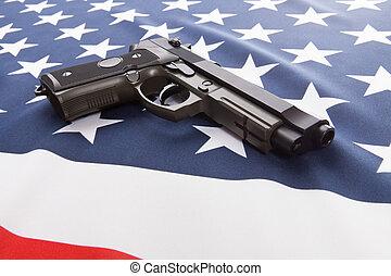 despenteado, eua, série, nacional, -, arma, mão, bandeira, aquilo, sobre