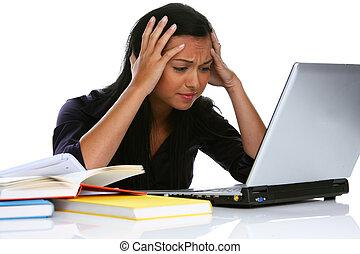 desperat, ung kvinna, med, a, laptopdator