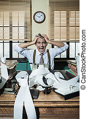 Desperate accountant shouting head in hands in vintage...