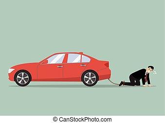 Desperate businessman with car debt burden