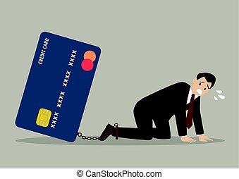 Desperate businessman with credit card burden