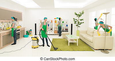desperate housewife - same woman cleaning living room,...