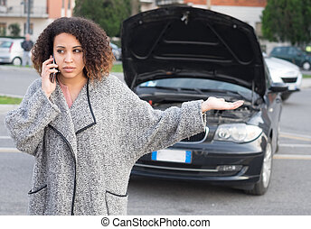 Desperate woman calling emergency help smartphone