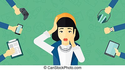 An asian woman in despair and many hands with gadgets around him on a green background with technology icons vector flat design illustration. Horizontal layout.