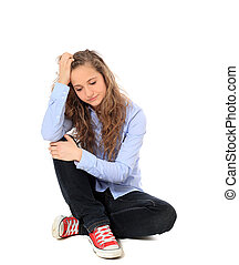Desperate young girl. All on white background.
