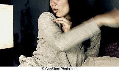 Desperate young woman crying