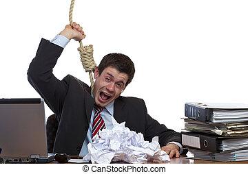 desperated, beklemtoonde, werknemer, is, doen, suizide, in,...