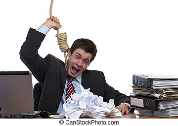 Desperated, stressed employee is doing suizide in office -...