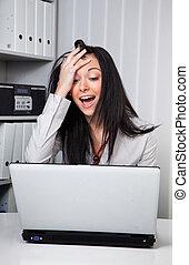 desperately, γυναίκα , ηλεκτρονικός υπολογιστής , νέος