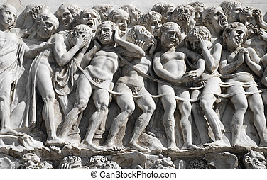 Desperation - Medieval high relief representing a crowd of...