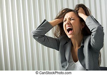 Photo of depressed female screaming in desperation