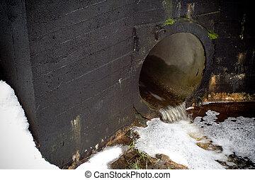 desperdício, água, tubo dreno