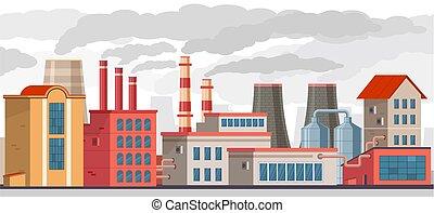 desperdício, ambiente industrial, ecologia, smoke.,...
