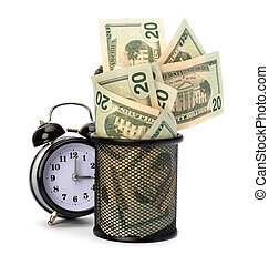 desperdício, conceito, dinheiro