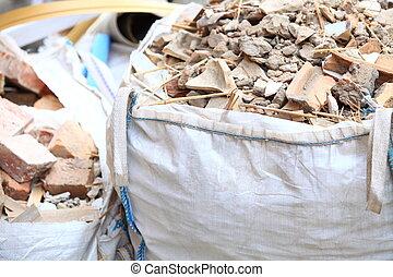 desperdício, construção, escombros, cheio, sacolas