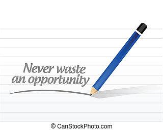 desperdício, mensagem, nunca, oportunidade, ilustração