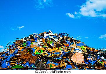 desperdício, metal, coloridos