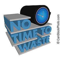 desperdício, não, tempo