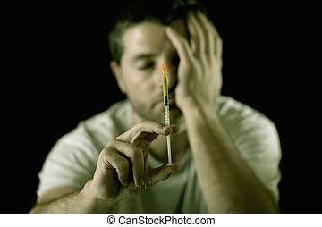 desperdiçado, segurando, droga heroína, homem, viciado, cocaína, ou, siringa, deprimido