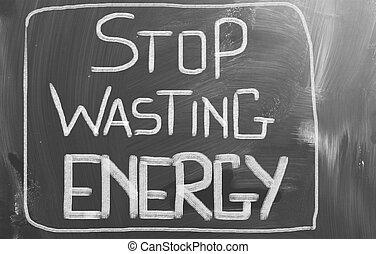 desperdiçando, energia, conceito, parada